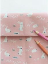 Candy floss rabbit 100% Cotton Fabric rabbits Quilting fabric (ffB204)