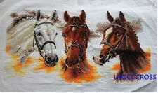 "Finished completed Cross stitch""HORSES""home decro gift FREE SHIPPING"