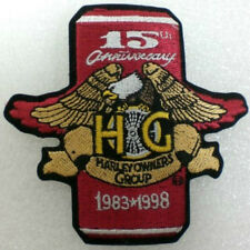 """Harley Owners Group HOG 15th Anniversay Patch 1983-1998  3¾"""" X 4""""  NEW"""
