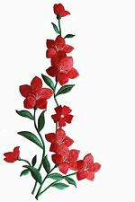 "#4112R 10"" Red Wild Flower Embroidery Iron On Applique -Left"