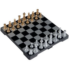 Travel Magnetic Chess Mini Set Complete Folding Board Game Portable Box Metal