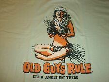 "OLD GUYS RULE "" IT'S A JUNGLE OUT THERE SURF SURFBOARD LONGBOARD FIN S/S SIZE L"