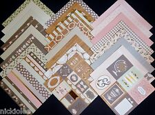 12X12 Scrapbook Paper Cardstock DCWV Happy Day Stack Florals Bows Doilies 24 Lot