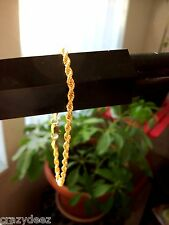"8"" GOLD PLATED ROPE CHAIN BRACELET W/ LOBSTER CLAW"