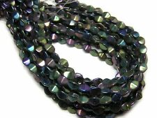 "5x4mm Green Iris Metallic Czech Glass Pinch Beads 8"" Strand #3736"