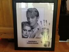 DAVID BOWIE , CATHERINE DENEUVE PHOTOGRAPH WITH ORIGINAL INK HANDPRINTS  FRAMED