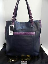 New Juicy Couture Minky Navy Blue Purple Leather Snake XL Tote Bag nwt