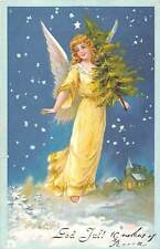"God Jul! ""Merry Christmas!"" Beautiful Woman, Angel Tree Stars Snowing 1908"