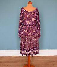 Vintage 80's Floral / Geometric Print Midi Dress Retro Boho 14