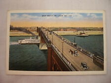 VINTAGE LINEN POSTCARD OF EADS BRIDGE, OLD CARS AND BOATS IN ST. LOUIS MO USED