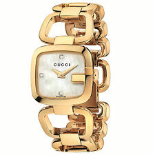 Gucci G-Gucci Gold-Tone SS Diamond Mother of Pearl Dial Women's Watch YA125513