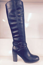 LADIES WOMENS KNEE HIGH BLACK LEATHER STYLE LOW HEEL QUILTED BOOTS SHOES SIZE 8