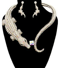 LUXE Statement Silver AB Crystal Crocodile Cuff Necklace Set By Rocks Boutique