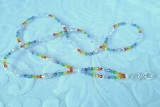 BEADED BADGE HOLDER CHAKRA RAINBOW FACETED CRYSTALS STARDUST SPACERS