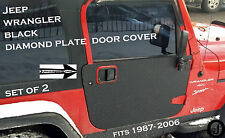 JEEP WRANGLER black DIAMOND PLATE FULL DOOR COVER SET fits yj or tj