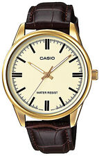 Casio MTP-V005GL-9A Mens Analog Gold Tone Watch Brown Leather Band New