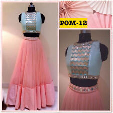 Bollywood Inspired Party Wear Pink & Blue Crop Top Lehenga by Purple Oyster