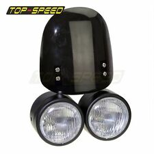 Twin Dual Black Dominator Headlight & Wind Screen Streetfighter Buell Universal