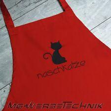 Schürze Naschkatze (Nr.7) Rot Kochen Backen Grillen Latzschürze mit Motiv Katze