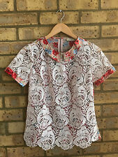 Topshop lace collared  top blouse Size UK 8 embroidered perfect condition