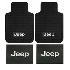 New 4pc Jeep Factory Logo Front & Back All Weather Heavy Duty Rubber Floor Mats