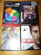 Lot 4 Play Station 2 Games Tony Hawk Project 8 The Sims Trivial Pursuit ATV 3