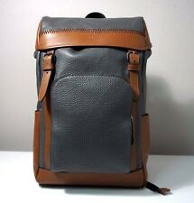 Coach Men's Henry Pebble Leather Backpack in Graphite/Dark Saddle F56013