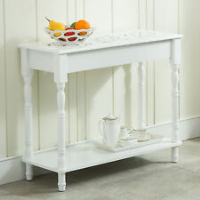 Colonial Carved Top Entry Hall Sofa Accent Console Table Wood Furniture in White