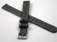 "Watch Band Vintage Ladies Grey Morocco Goat 13mm 1/2"" Silver Tone Buckle NOS"