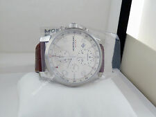 NEW Montblanc Timewalker Chronograph Brown Leather Strap Men's Watch 107065