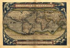 Ortelius Vintage Old Antique Colour Color 1570 World Map Plan Poster NEW Picture