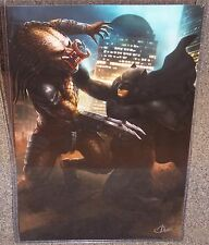 Batman vs The Predator Glossy Print 11 x 17 In Hard Plastic Sleeve