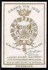 SAINT JULIEN 2E GCC VIEILLE ETIQUETTE CHATEAU GRUAUD LAROSE 1936 RARE §27/09/16§