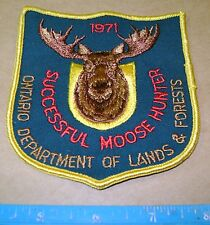 1971 ONTARIO LANDS + FORESTS MOOSE HUNTING PATCH crest,deer,bear,elk,Canadian
