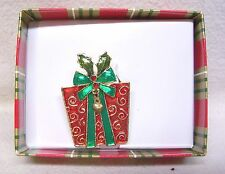 Beautiful Christmas Present Pin With Gem Stones In Box