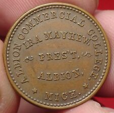 Albion MI 25A-1a Civil War Store Card Token Ira Mayhew College 1863