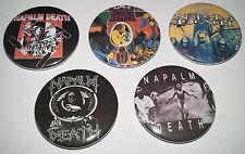 5 Napalm Death button badges 90's rock Carcass Brutal Truth Scum Morbid Angel