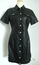 LOVE MOSCHINO Leather Lace-Up Collared Dress Damen Lederkleid Gr.38 NEU+ETIKETT