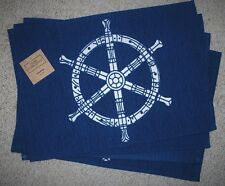 SET 4 WOVEN COTTON PLACEMATS/NAUTICAL THEME/SHIP'S WHEEL/BEACH/ NAVY/WHITE/NWT