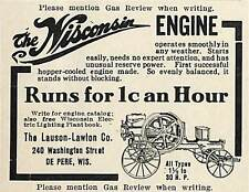 1914 WISCONSIN GAS GASOLINE ENGINE AD LAUSON LAWTON DE PERE WI WISCONSIN