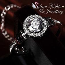 18K White Gold Plated Simulated Diamonds Luxury 4.0 Carat Studded Halo Bracelet