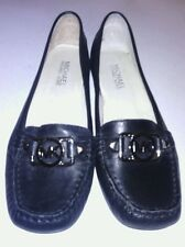 Michael Kors black leather / silver emblem womens loafers/ slip on shoes size 6M
