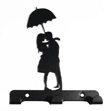 Par bajo llave de metal rack gancho paraguas silueta Pared Arte Romántico San Valentín
