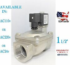 1 1/2 Stainless Steel Solenoid Valve Electric Normally Closed Water Gas Air Ro