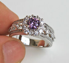 18K White Gold Filled- Amethyst Topaz Zircon Flower Hollow Cocktail Ring Size 10