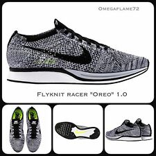 Sz 7 Nike Flyknit Racer Oreo 1.0  Running Shoes 526628-101 Black White Volt