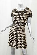 OSCAR DE LA RENTA Womens Brown+Cream Houndstooth Short-Sleeve Shift Dress 10