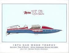 1973 Miss U.S. Gar Wood Trophy Hydroplane Art Print - by R.J. Tully