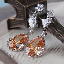 18k white gold filled attractive  champagne Swarovski crystal fit dangle earring