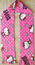"HELLO KITTY DOTS & DAISY  PRINT SUPER SOFT FLEECE SCARF HANDMADE 8""x60"""